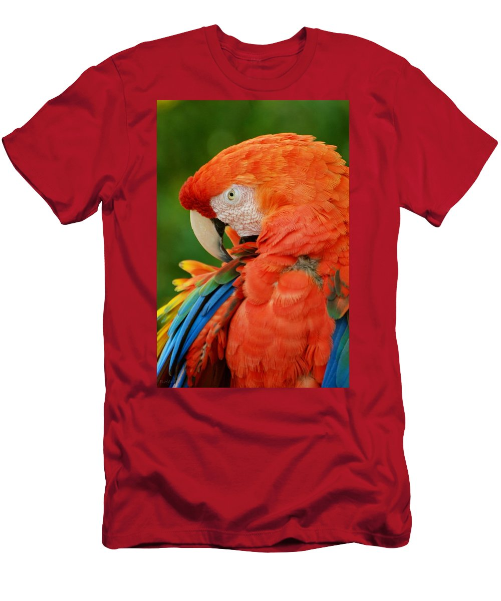 Macaws Men's T-Shirt (Athletic Fit) featuring the photograph Macaws Of Color29 by Rob Hans