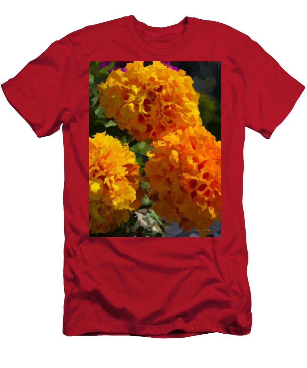 Marigold Men's T-Shirt (Athletic Fit) featuring the digital art Marigold Mops by Jo-Anne Gazo-McKim