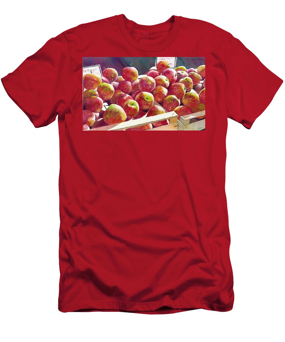 Apple Men's T-Shirt (Athletic Fit) featuring the painting Market Apples by Greg and Linda Halom