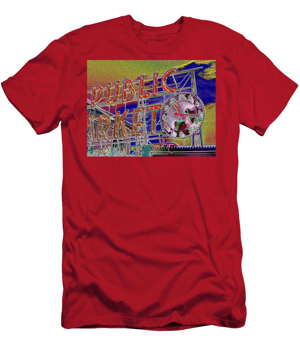 Seattle Men's T-Shirt (Athletic Fit) featuring the digital art Market Clock 1 by Tim Allen