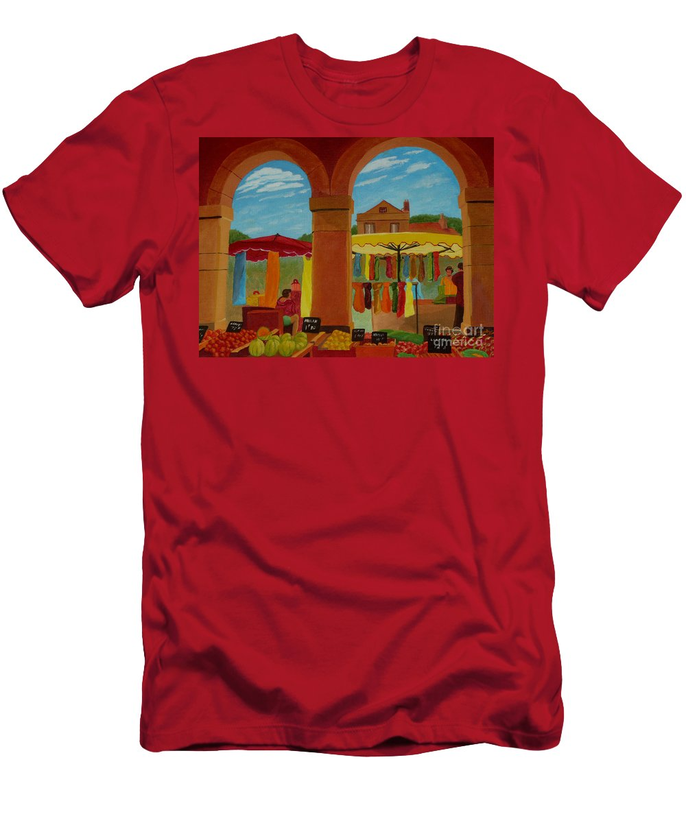 Landscape Men's T-Shirt (Athletic Fit) featuring the painting Market Day by Anthony Dunphy