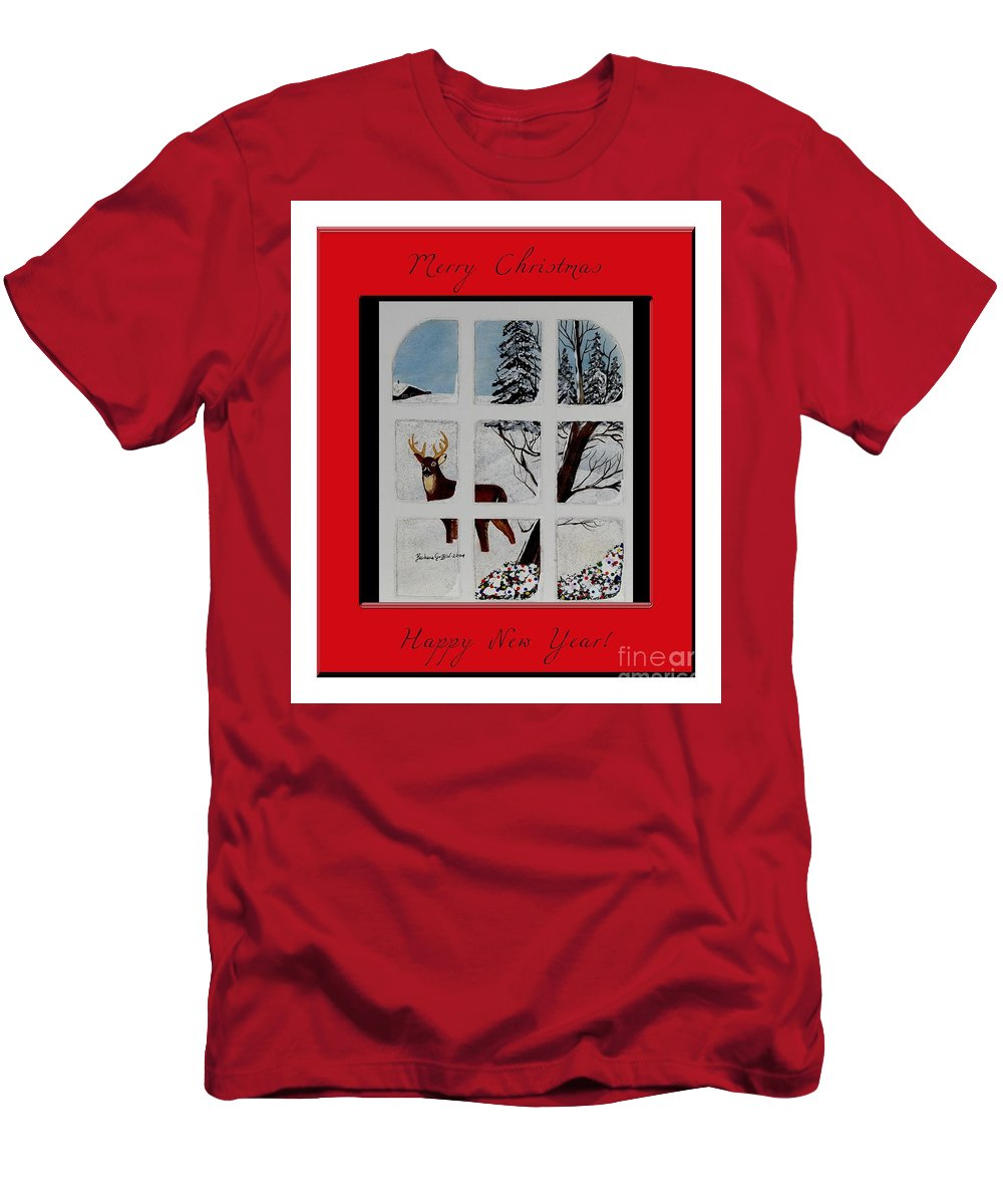 Merry Christmas Deer Men's T-Shirt (Athletic Fit) featuring the painting Merry Christmas Deer by Barbara Griffin