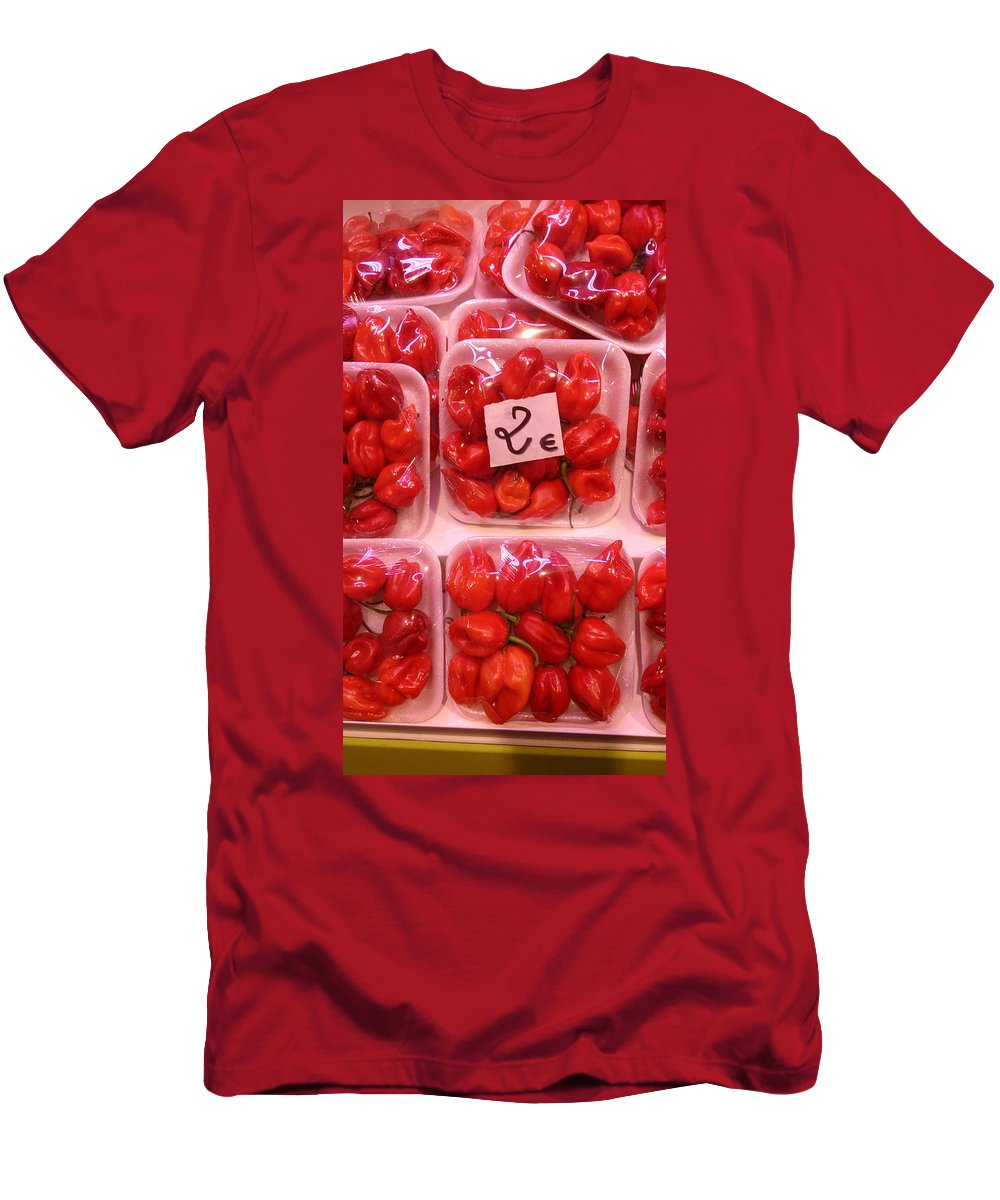 Vegetables Men's T-Shirt (Athletic Fit) featuring the photograph Mini Red Peppers by Moshe Harboun