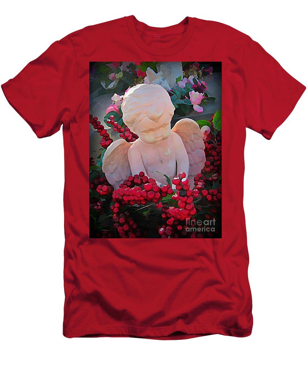 Cherub Men's T-Shirt (Athletic Fit) featuring the photograph Mischevious Little Cherub Takes A Pee by John Malone
