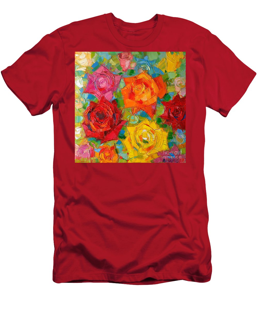 Rose Men's T-Shirt (Athletic Fit) featuring the painting Mon Amour La Rose by Mona Edulesco