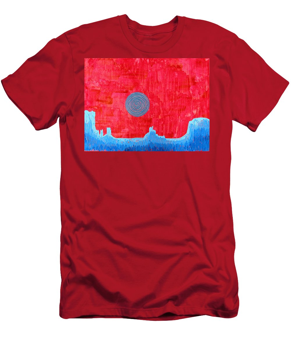 Painting Men's T-Shirt (Athletic Fit) featuring the painting Monument Valley Original Painting by Sol Luckman
