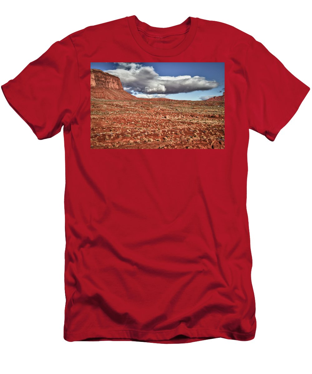 Monument Valley Utah Men's T-Shirt (Athletic Fit) featuring the photograph Monument Valley Ut 1 by Ron White