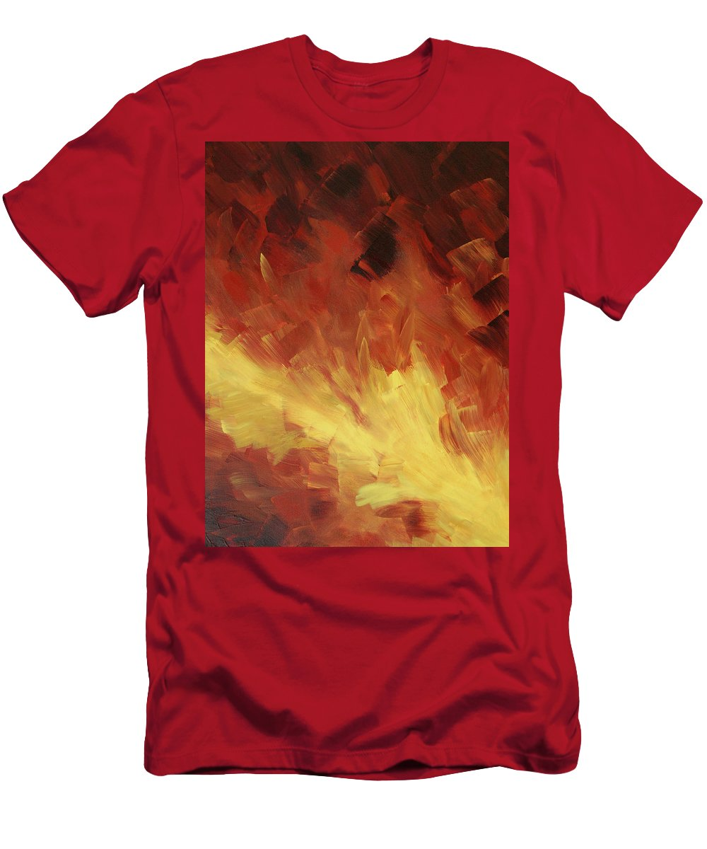Fire Men's T-Shirt (Athletic Fit) featuring the painting Muse In The Fire 2 by Sharon Cummings