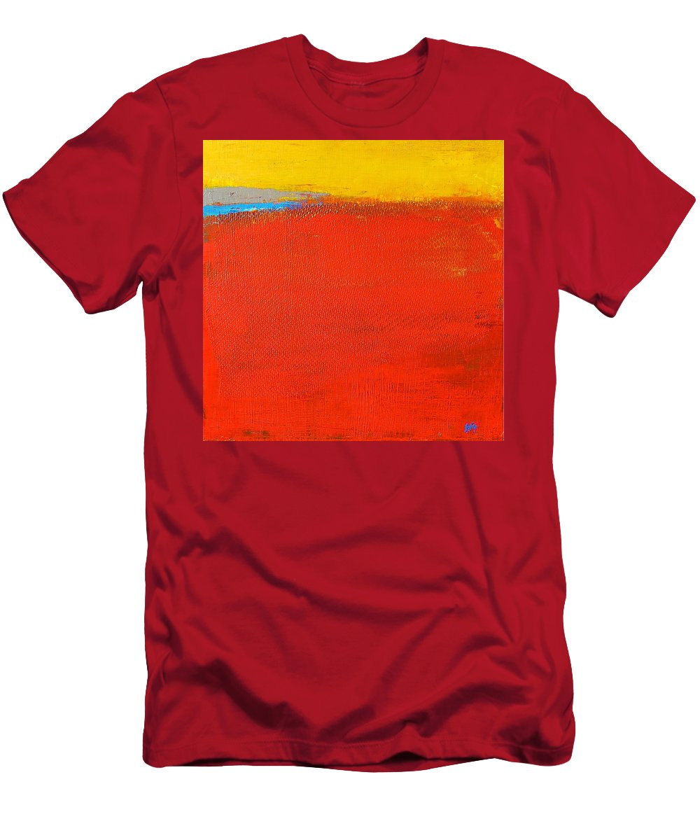 Landscape Men's T-Shirt (Athletic Fit) featuring the painting Nature Rouge by Habib Ayat