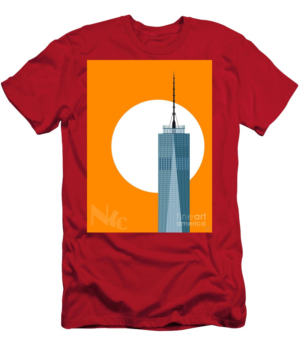 World Trade Center Men's T-Shirt (Athletic Fit) featuring the digital art New Beginnings Freedom Tower by Nishanth Gopinathan