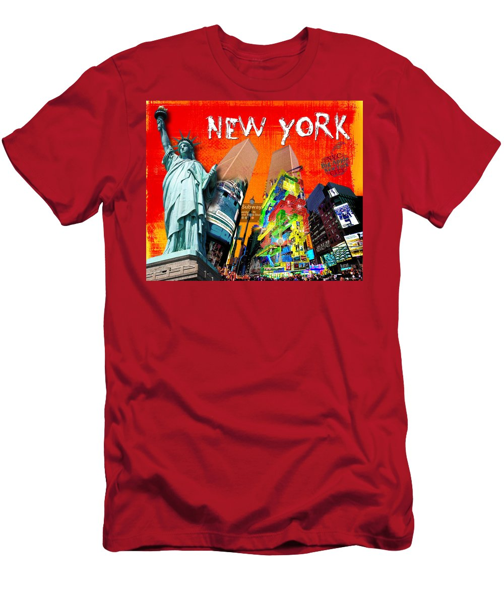 New York Men's T-Shirt (Athletic Fit) featuring the digital art New York by Jan Raphael