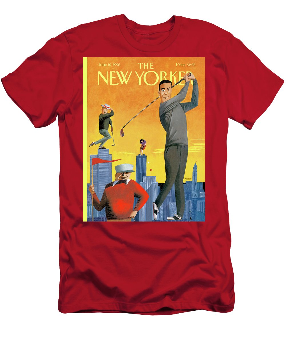 Tee Time Men's T-Shirt (Athletic Fit) featuring the painting New Yorker June 10th, 1996 by Mark Ulriksen