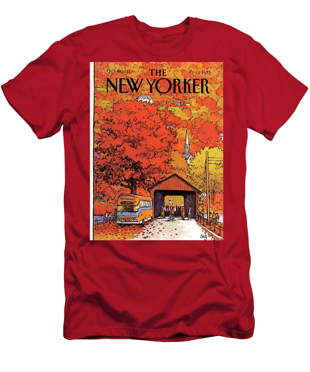 Season T-Shirt featuring the painting New Yorker October 19th, 1981 by Arthur Getz