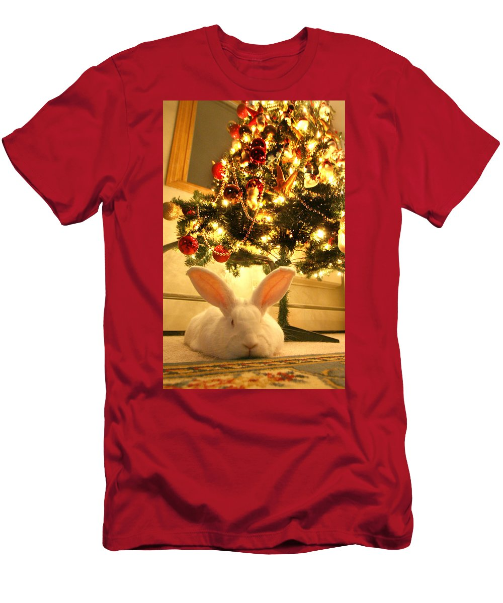 Rabbit Men's T-Shirt (Athletic Fit) featuring the photograph New Zealand White Rabbit Under The Christmas Tree by Amanda Stadther