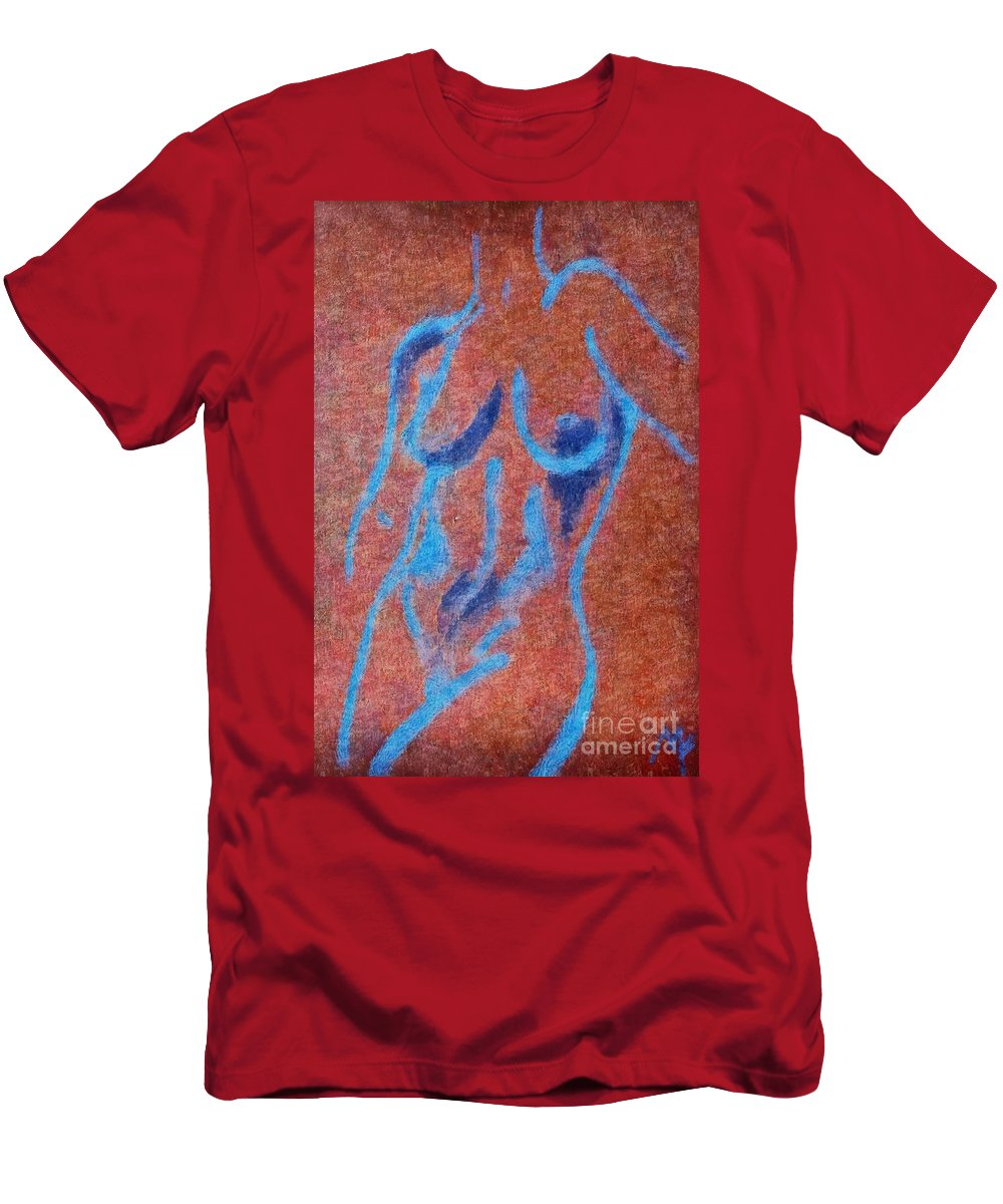 Nude Men's T-Shirt (Athletic Fit) featuring the drawing Nude V by Dragica Micki Fortuna