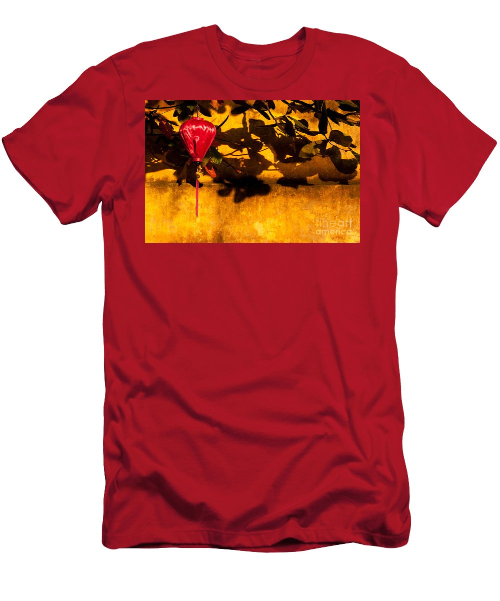 Vietnam Men's T-Shirt (Athletic Fit) featuring the photograph Ochre Wall Silk Lantern 02 by Rick Piper Photography