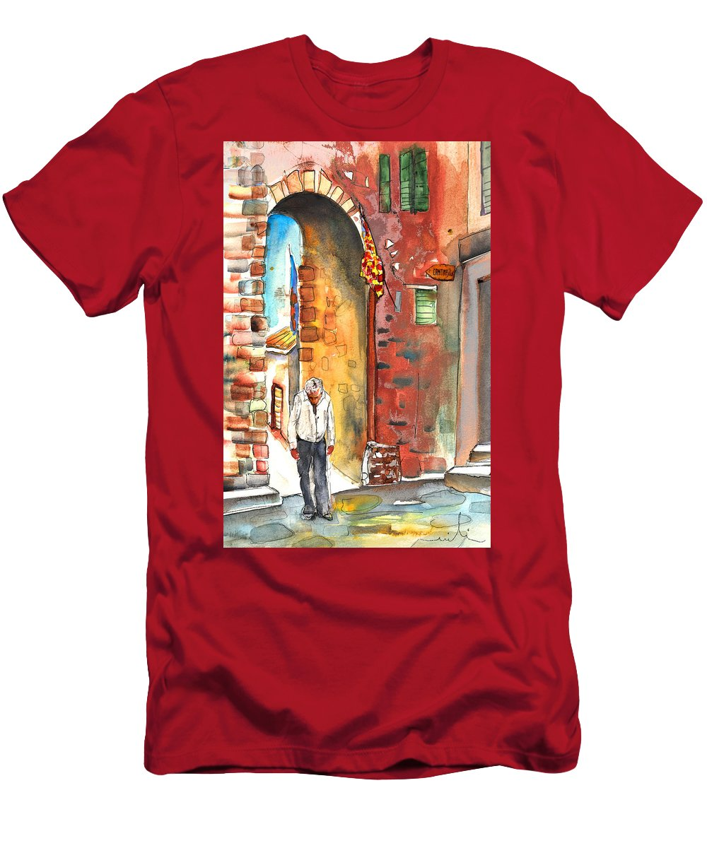 Italy Men's T-Shirt (Athletic Fit) featuring the painting Old And Lonely In Italy 04 by Miki De Goodaboom