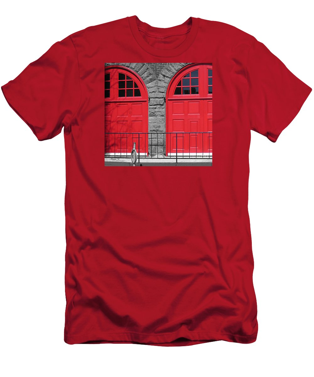 Doors Men's T-Shirt (Athletic Fit) featuring the photograph Old Fire Hall Doors by Nina Silver