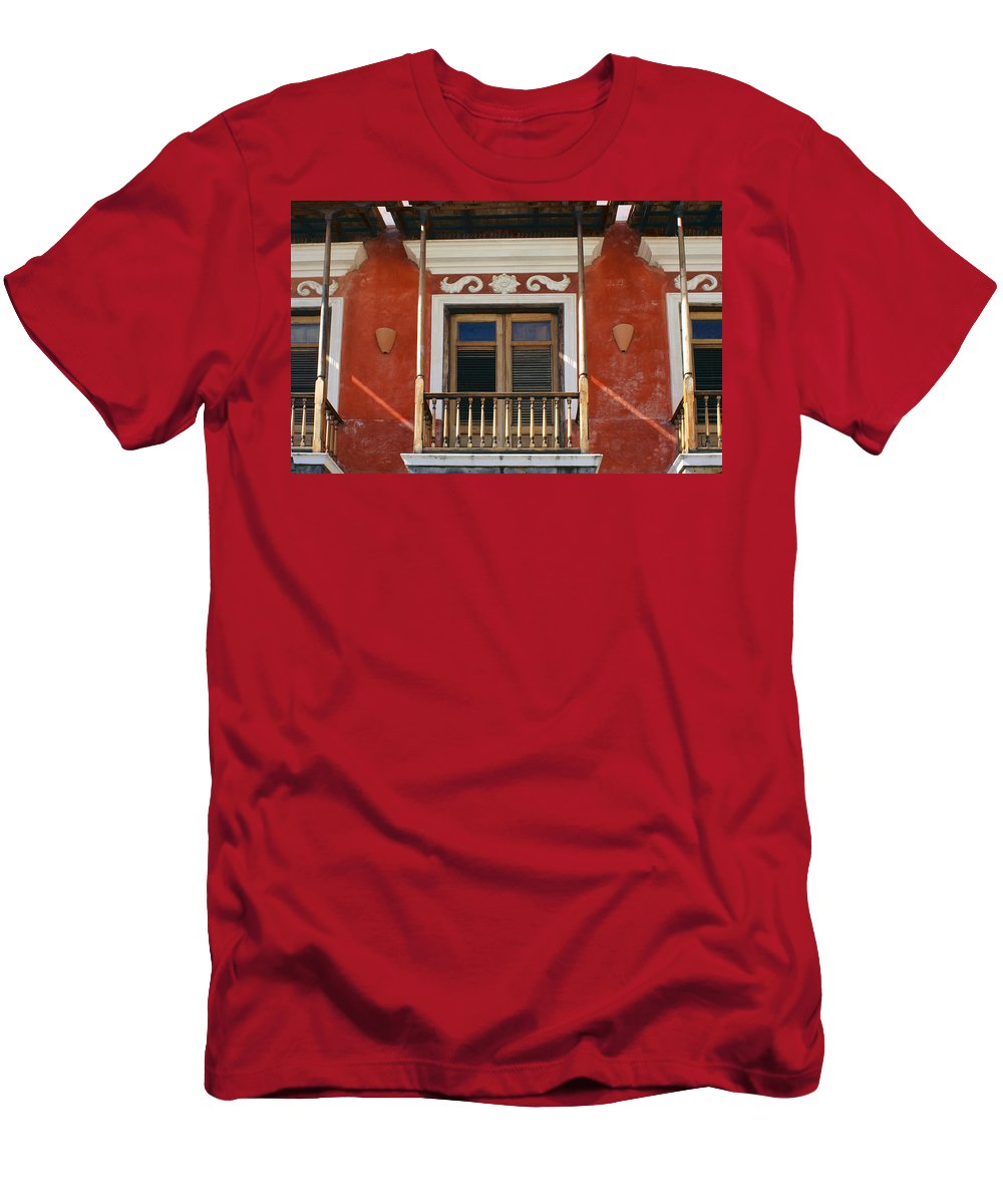 Balcony Men's T-Shirt (Athletic Fit) featuring the photograph Old San Juan Balcony by Stuart Litoff