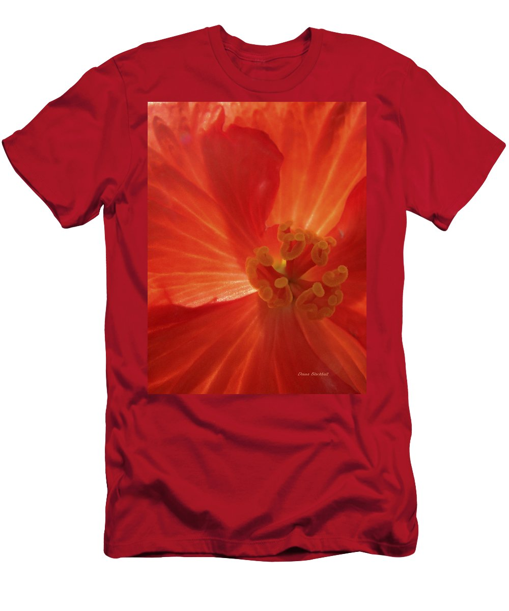 Flower Men's T-Shirt (Athletic Fit) featuring the photograph On Fire For You by Donna Blackhall