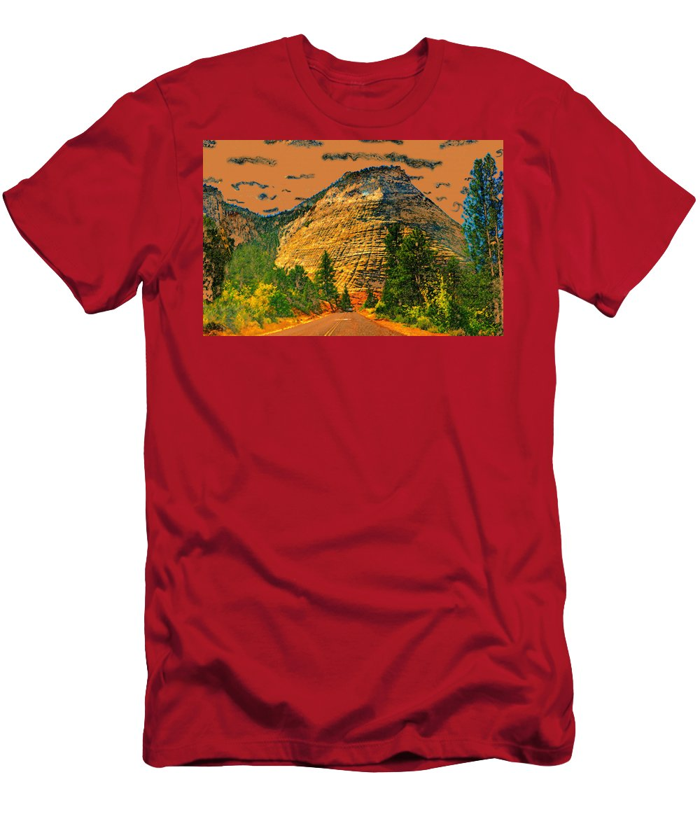 On The Road To Zion Men's T-Shirt (Athletic Fit) featuring the painting On The Road To Zion by David Lee Thompson