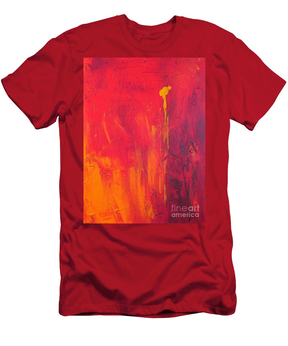 Yellow Men's T-Shirt (Athletic Fit) featuring the painting One Big Coverup by Paulette B Wright