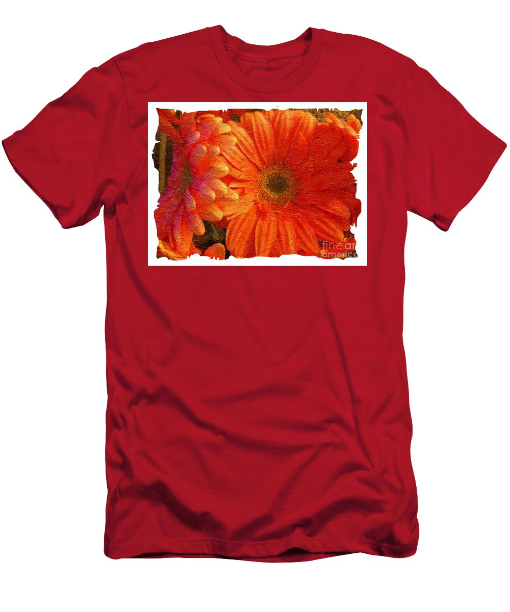 Orange Daisies Painterly With Border Men's T-Shirt (Athletic Fit) featuring the photograph Orange Daisies Painterly With Border by Barbara Griffin
