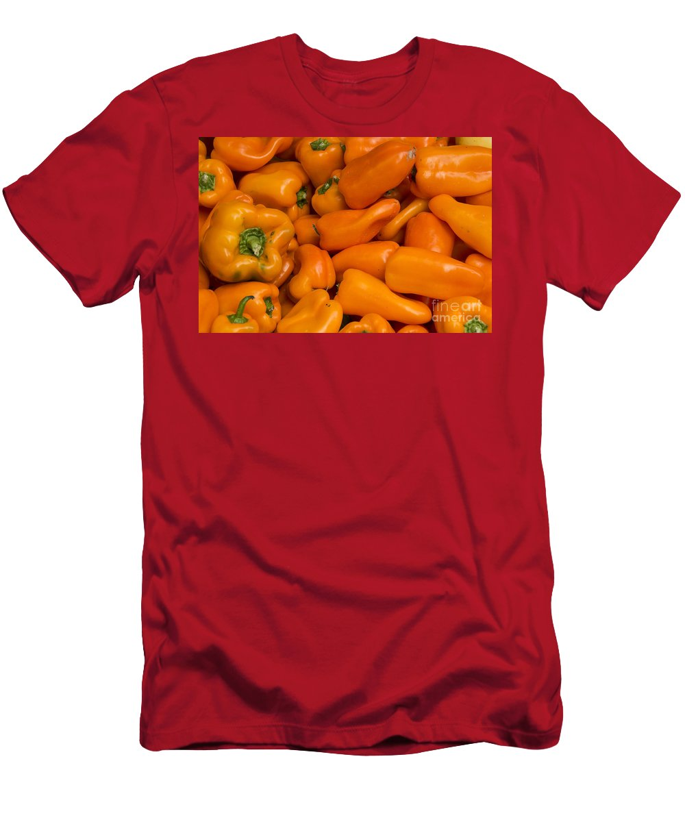 Union Square Greenmarket Pepper Orange Peppers Fruit And Vegetable Market Markets Fruits New York City Men's T-Shirt (Athletic Fit) featuring the photograph Orange Peppers by Bob Phillips