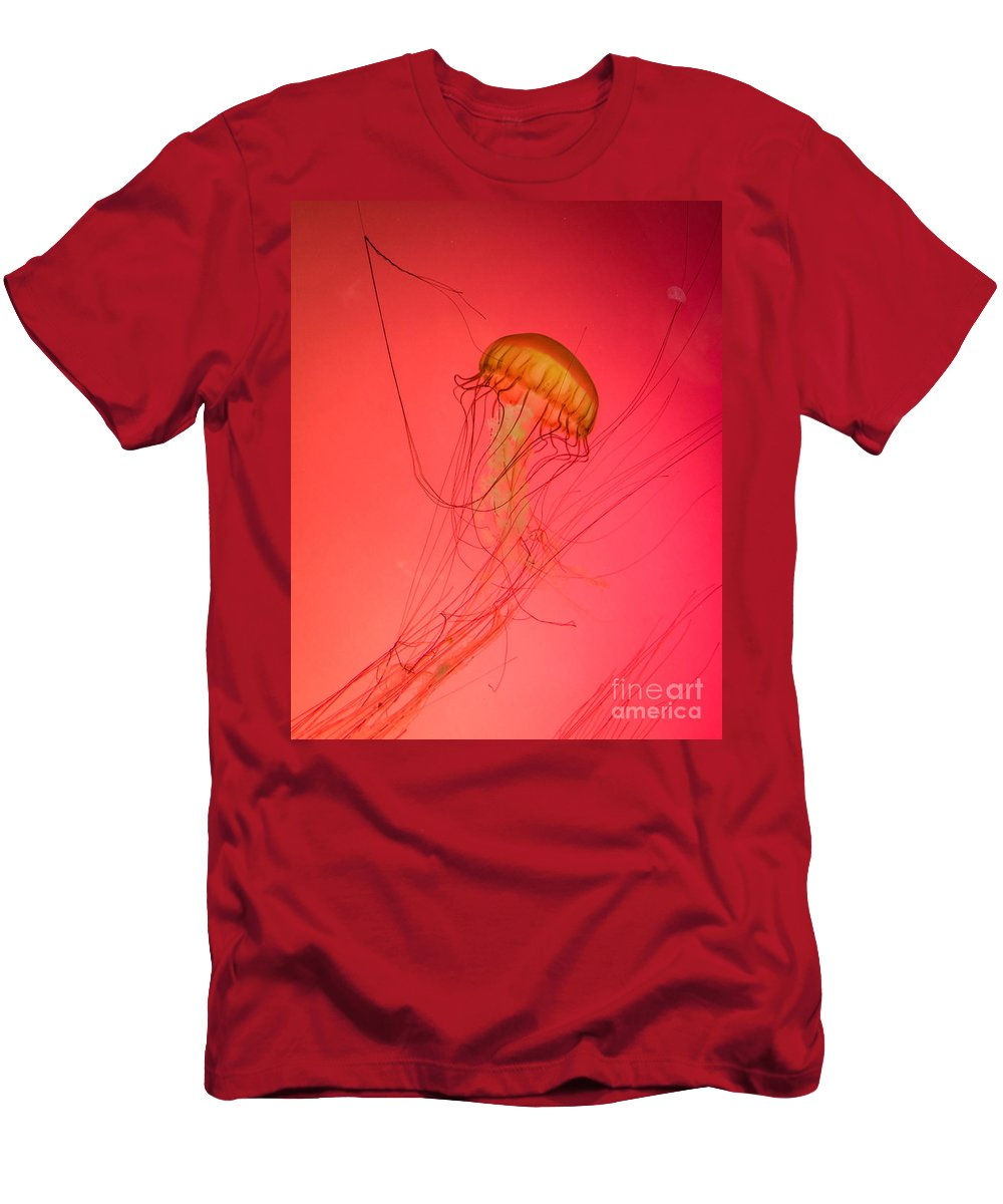 Orange Jellyfish Men's T-Shirt (Athletic Fit) featuring the photograph Orange Swimming Jellyfish by Silken Photography