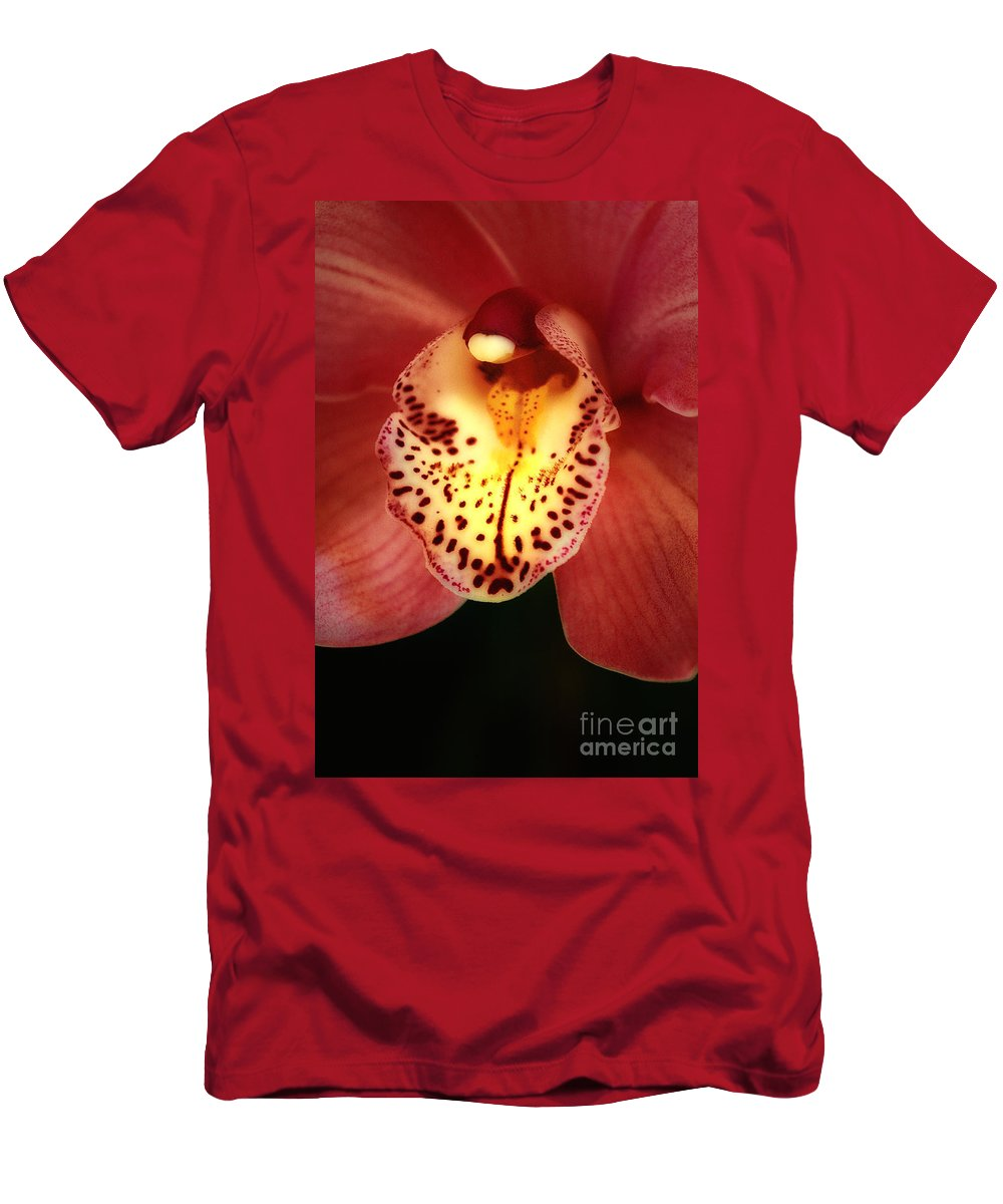 Orchid Men's T-Shirt (Athletic Fit) featuring the photograph Orchid Macro by Mike Nellums