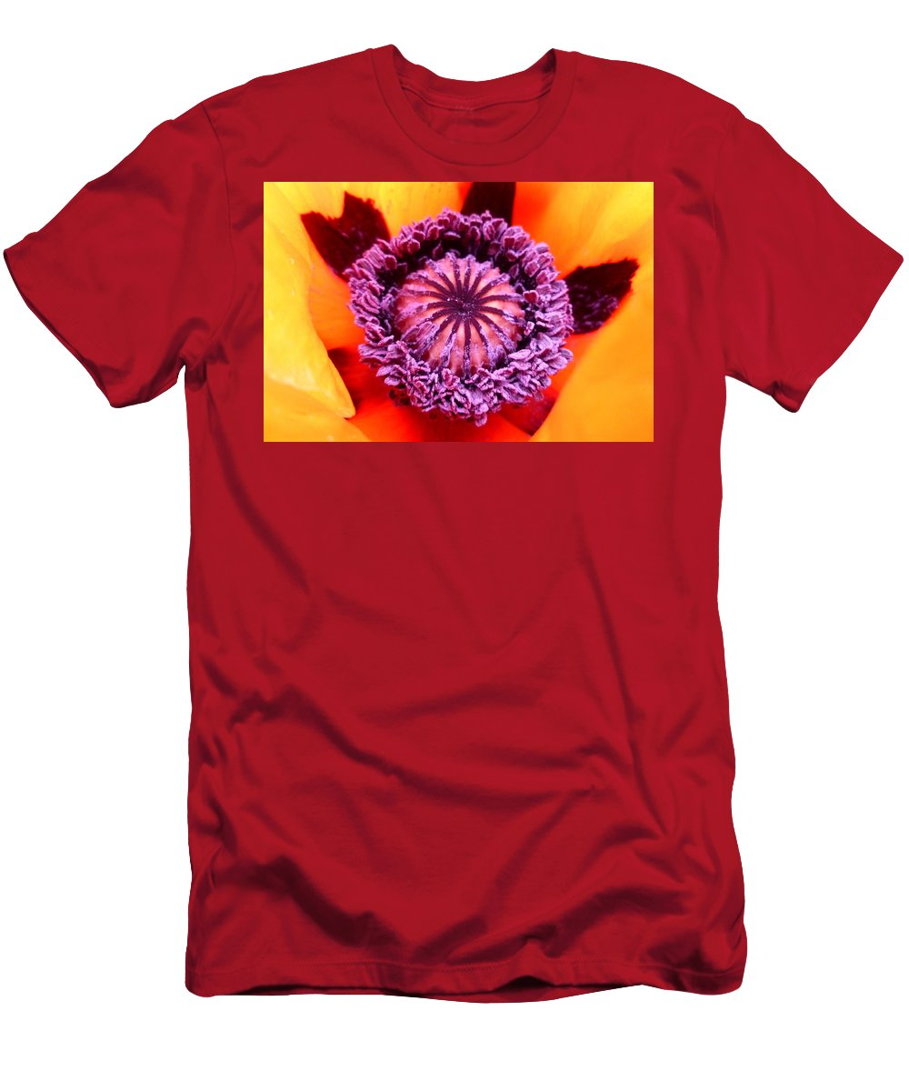 Macro Men's T-Shirt (Athletic Fit) featuring the photograph Oriental Poppy by The Creative Minds Art and Photography