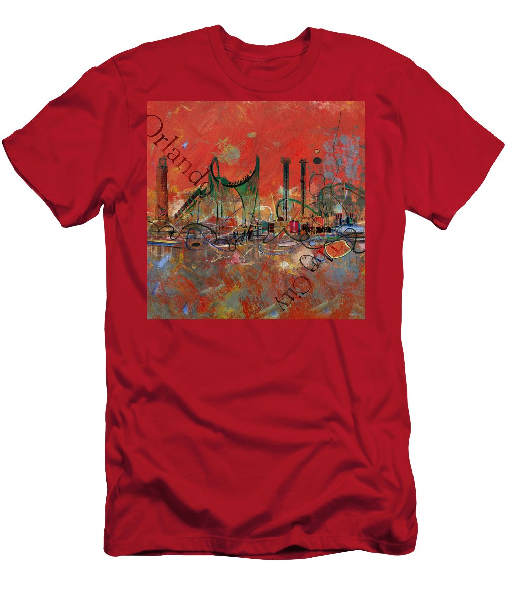 Orlando Men's T-Shirt (Athletic Fit) featuring the painting Orlando City Collage 2 by Corporate Art Task Force