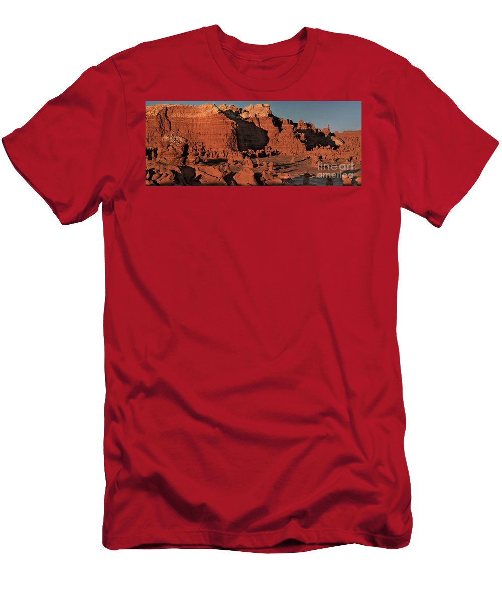 North America Men's T-Shirt (Athletic Fit) featuring the photograph Panorama Hoodoos Goblin Valley Utah by Dave Welling