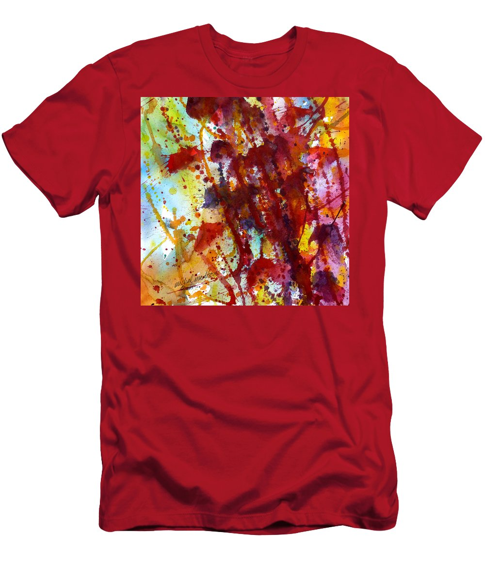 Abstract Art Men's T-Shirt (Athletic Fit) featuring the painting Passion Rising by Michal Madison