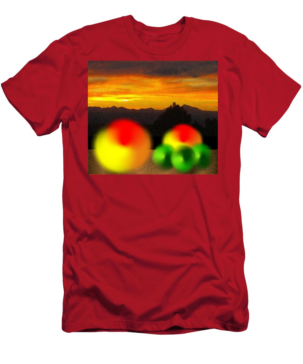 Peach Men's T-Shirt (Athletic Fit) featuring the digital art Peaches And Limes On A Colorado Mountain Top by Michael Hurwitz