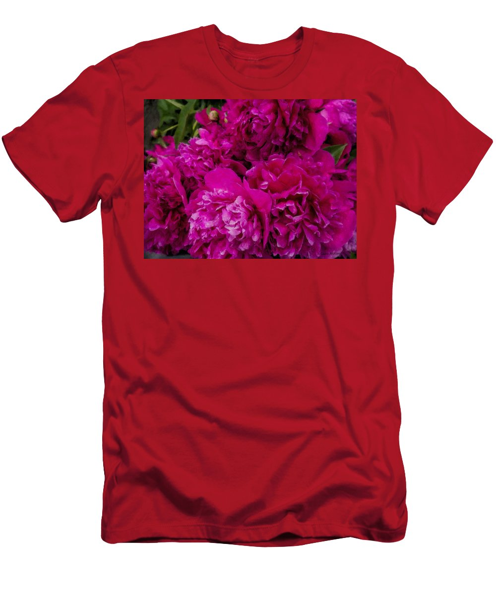 Petal Men's T-Shirt (Athletic Fit) featuring the painting Peony Passion by Jo-Anne Gazo-McKim