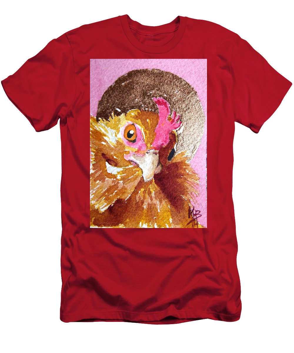 Chicken Art Men's T-Shirt (Athletic Fit) featuring the painting Perkly Nugget by Kirsten Beitler