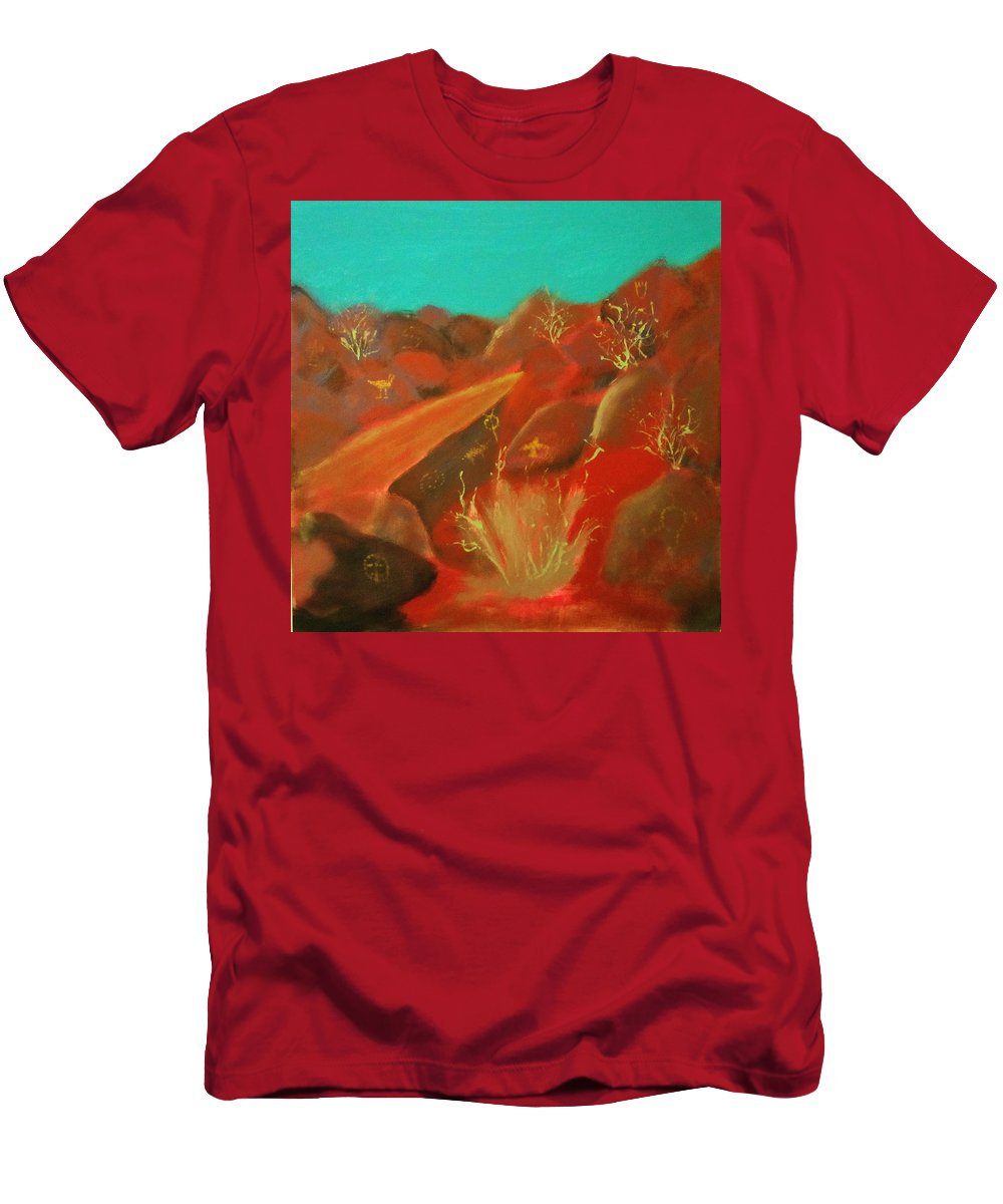 Southwest Men's T-Shirt (Athletic Fit) featuring the painting Petroglyph Park by Keith Thue