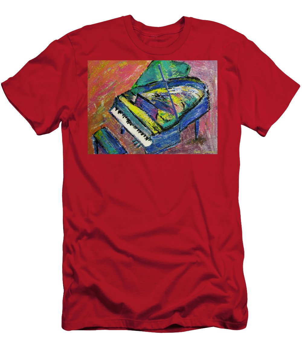 Piano Men's T-Shirt (Athletic Fit) featuring the painting Piano Blue by Anita Burgermeister