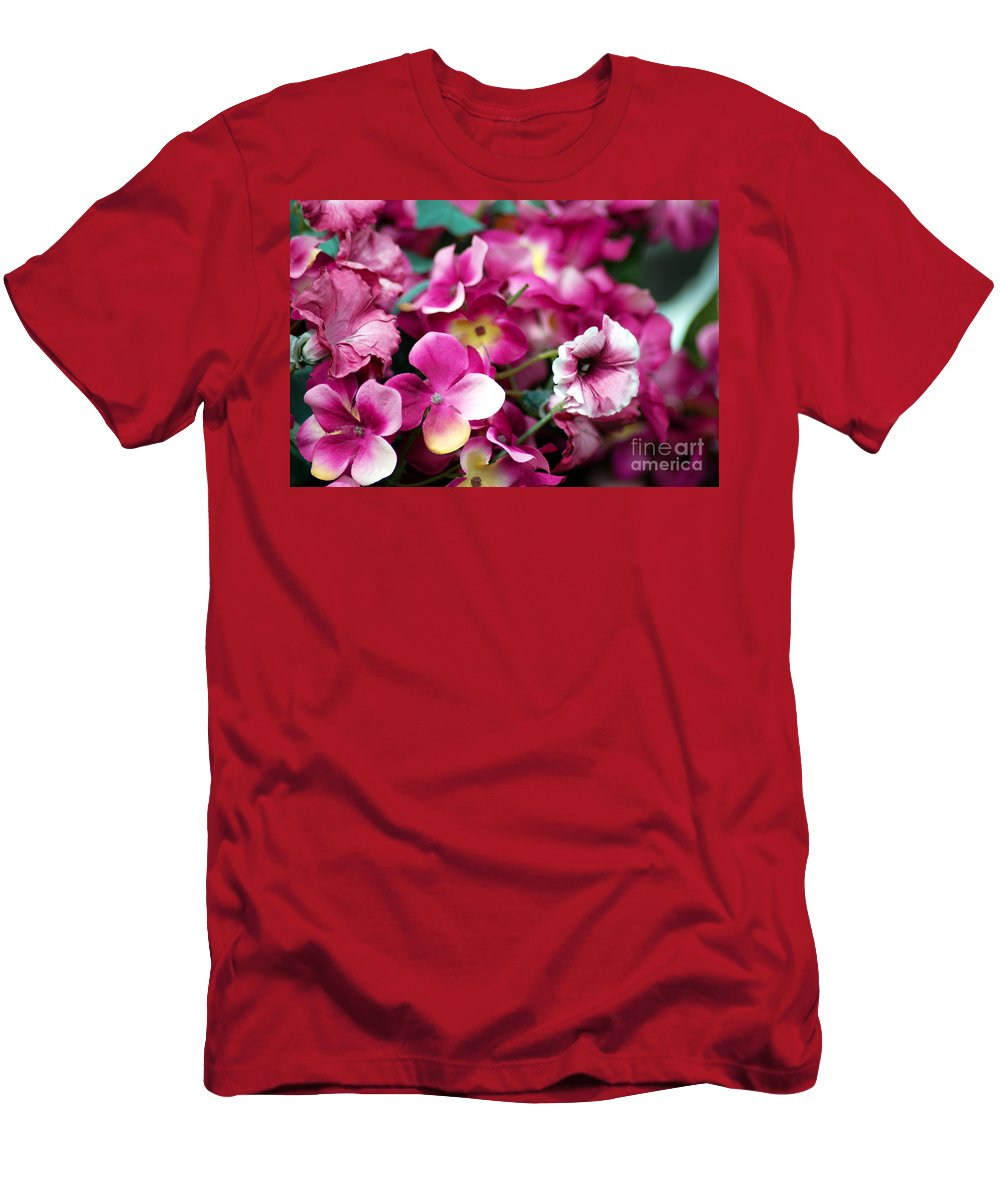Flowers Men's T-Shirt (Athletic Fit) featuring the photograph Pink Canvas Flora by Optical Playground By MP Ray