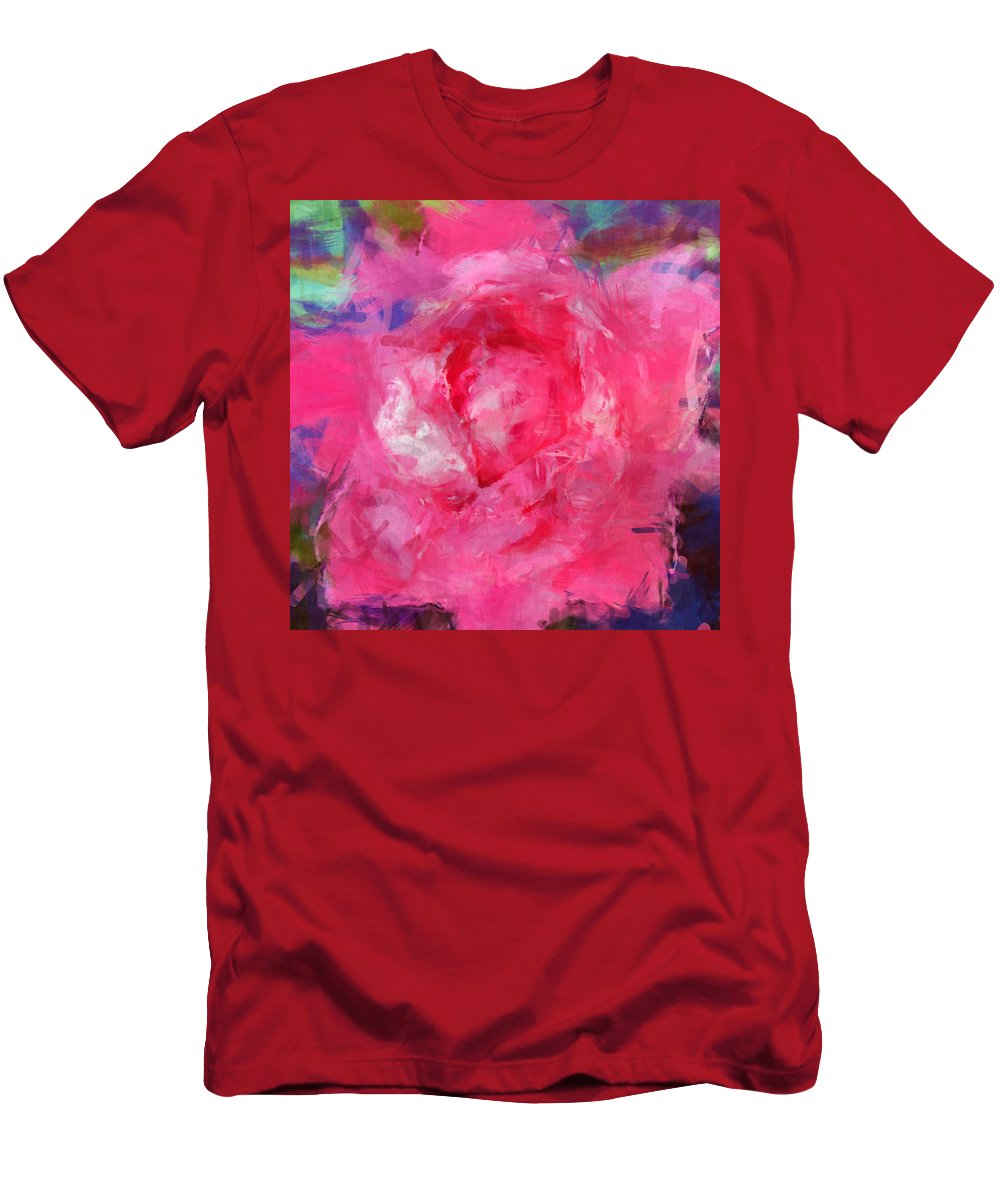 Pink Men's T-Shirt (Athletic Fit) featuring the digital art Pink Rose 2 by David G Paul