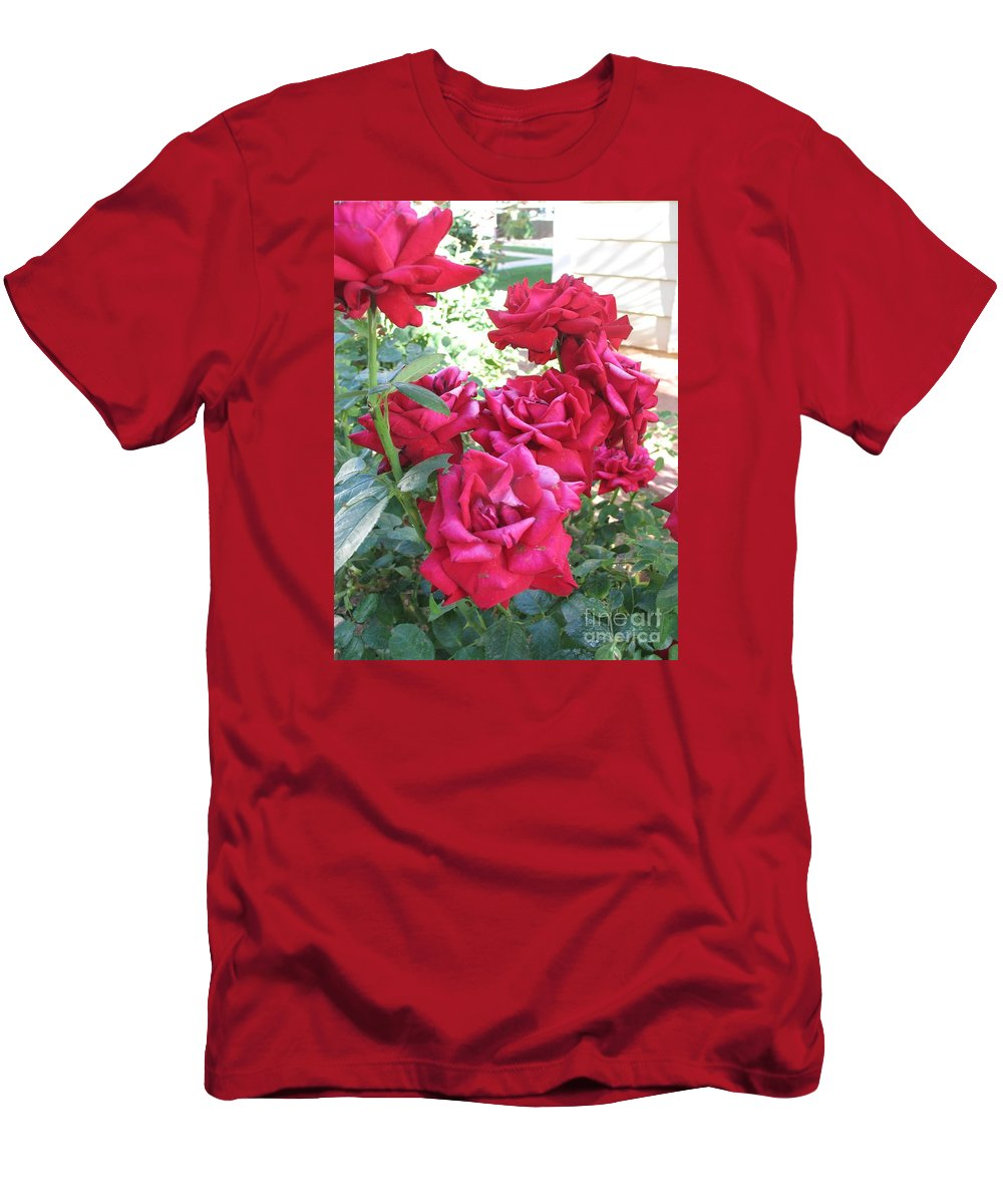 Photography Men's T-Shirt (Athletic Fit) featuring the photograph Pink Roses by Chrisann Ellis