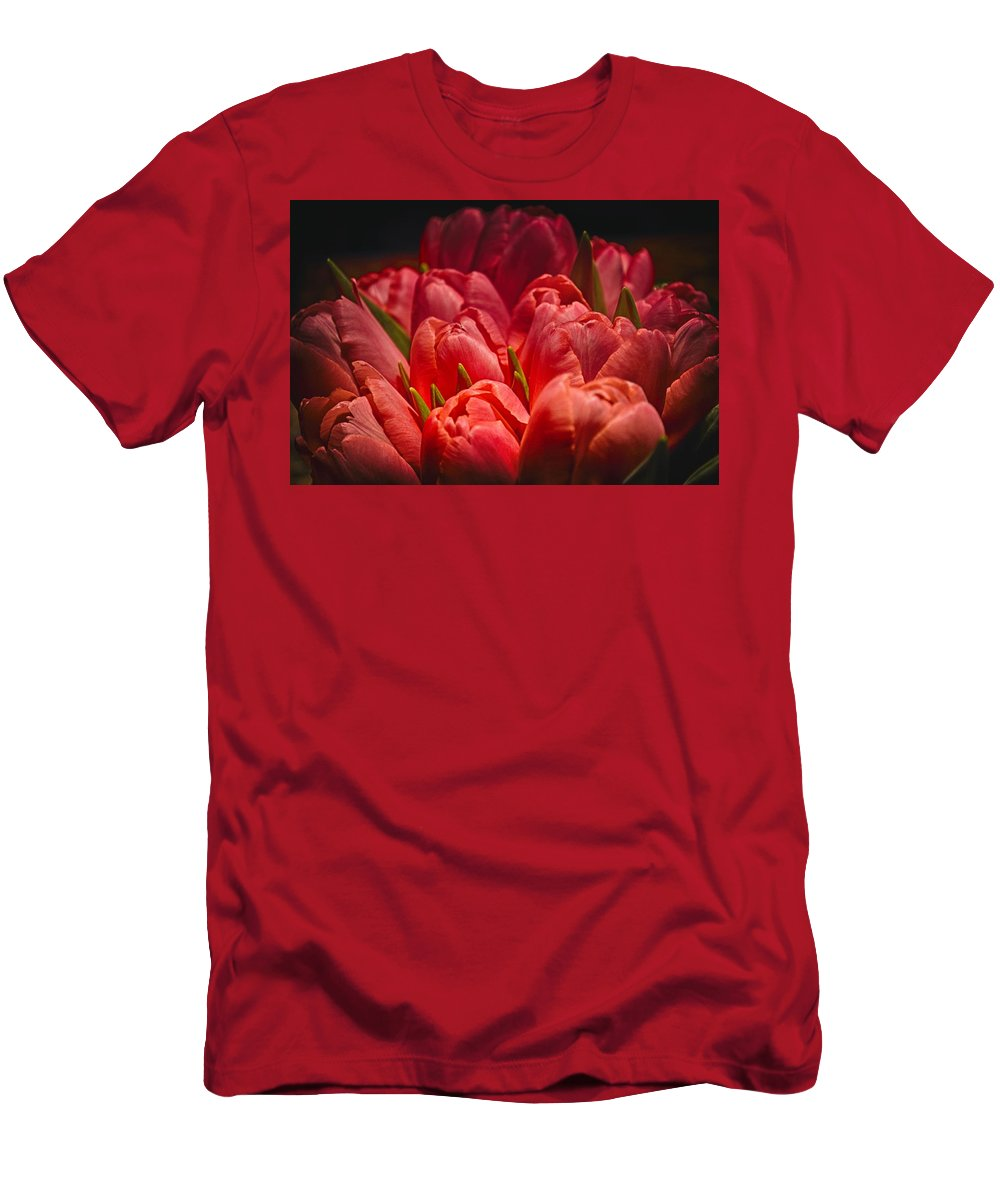 Pink Tulip Canvas Men's T-Shirt (Athletic Fit) featuring the photograph Fucshia Tulips by Kristina Deane