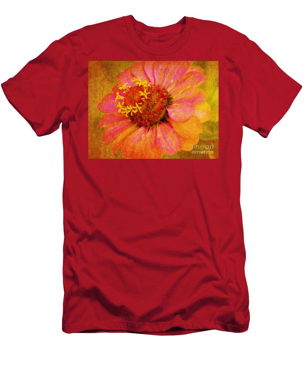 Zinnia Men's T-Shirt (Athletic Fit) featuring the photograph Pink Flower Wall Art Zinnia Floral Fine Art by Carol F Austin