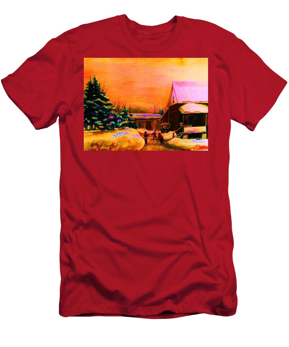 Hocket Art Men's T-Shirt (Athletic Fit) featuring the painting Playing Until The Sun Sets by Carole Spandau