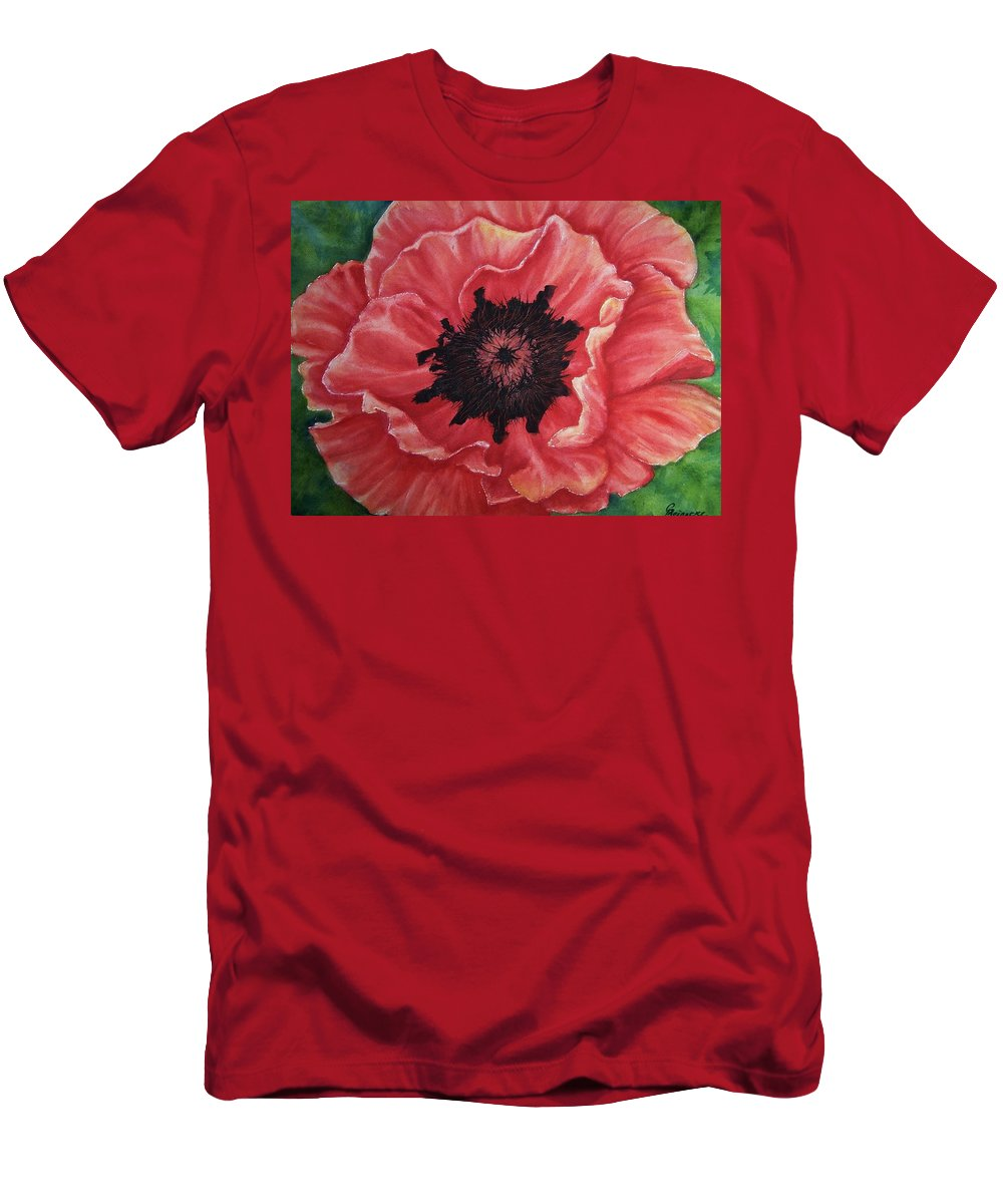 Poppy Men's T-Shirt (Athletic Fit) featuring the painting Poppy by Conni Reinecke