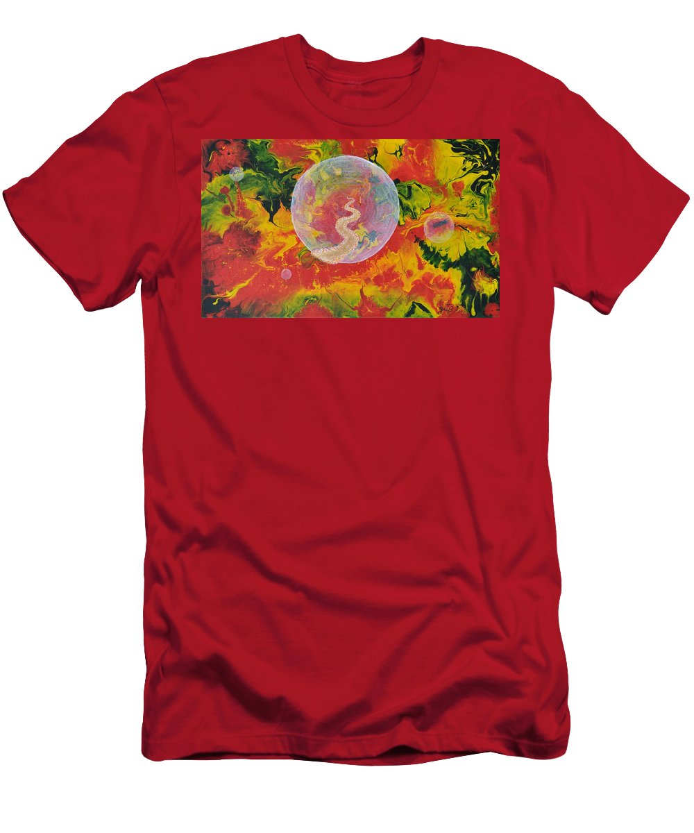 Abstract Men's T-Shirt (Athletic Fit) featuring the painting Portals And Dimensions by Georgeta Blanaru