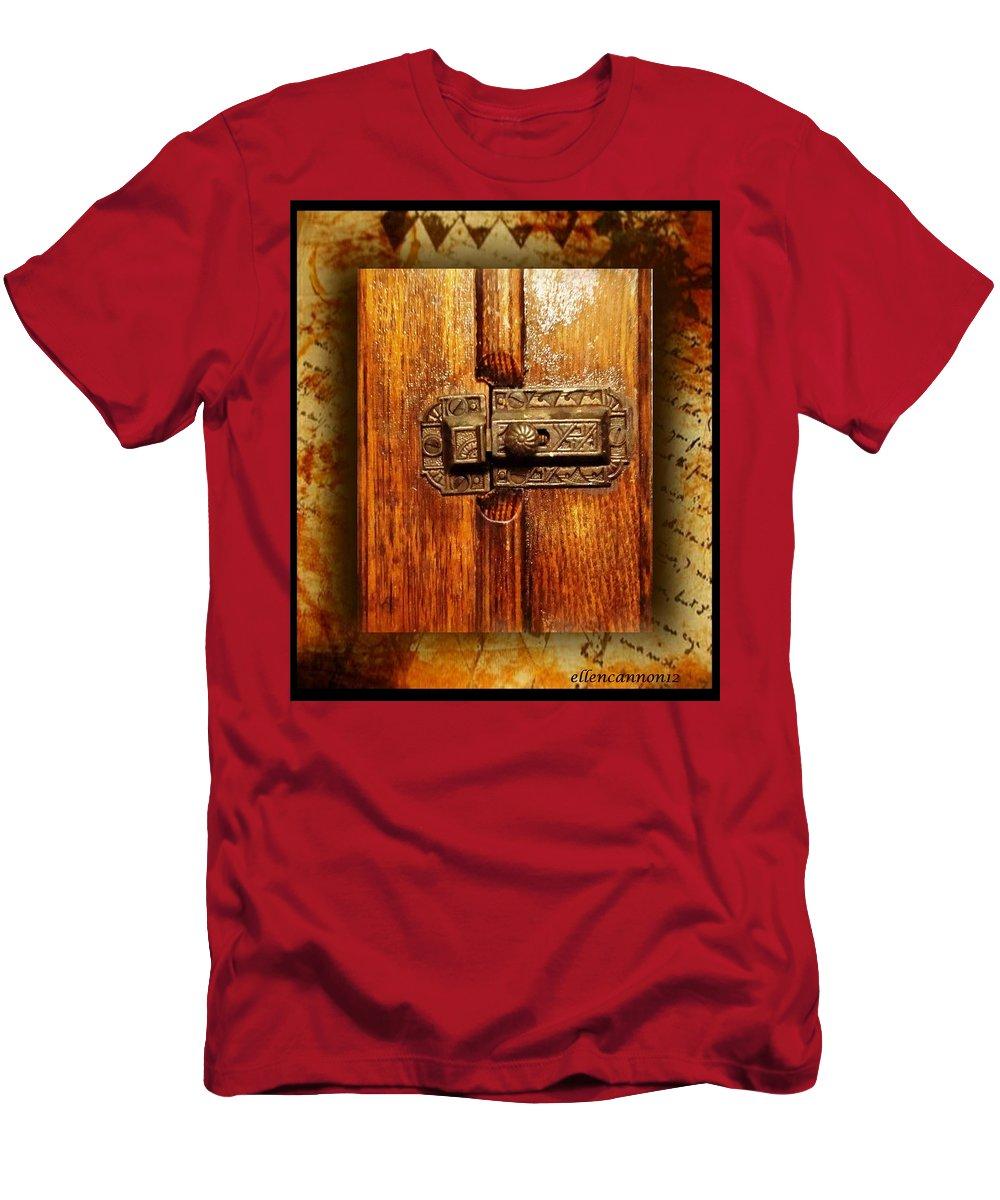Antique Men's T-Shirt (Athletic Fit) featuring the photograph Pre-civil War Bookcase-glass Doors Latch by Ellen Cannon