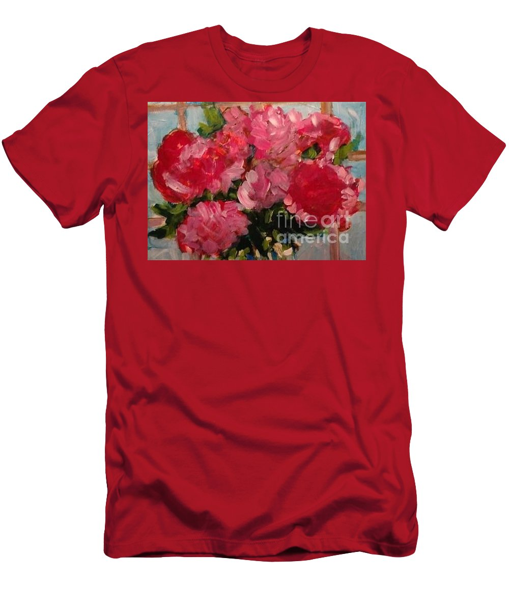 Floral Men's T-Shirt (Athletic Fit) featuring the painting Pretty In Pink by Sherry Harradence