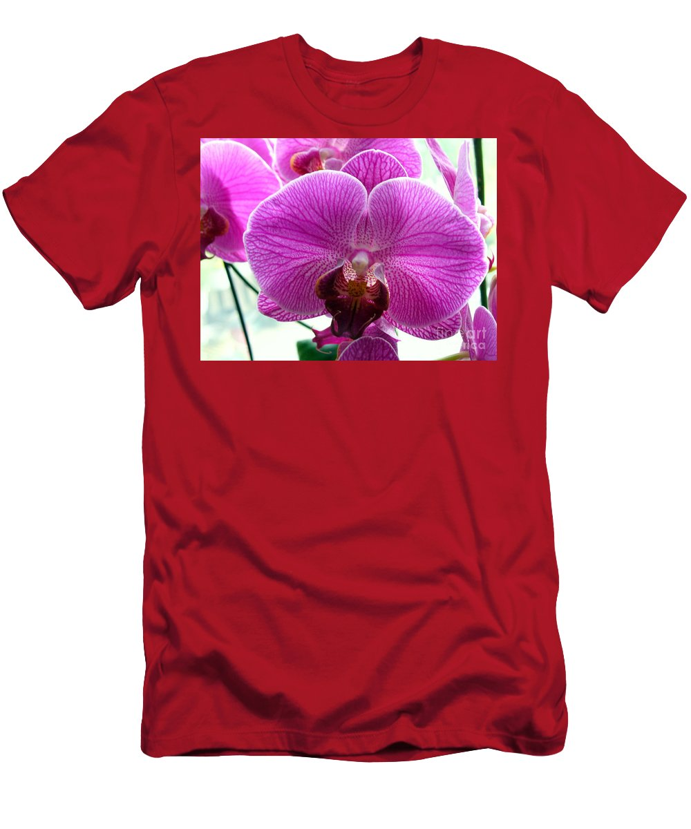 Phalaenopsis Flower Men's T-Shirt (Athletic Fit) featuring the photograph Purple Infusion by Lingfai Leung